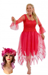 Adult Women's Fairy Dress Costume Hot pink & Free Headpiece