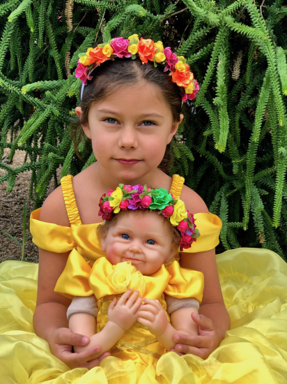 Girls Princess Belle Inspired Dress Set, Girls Belle Costume - Click Image to Close