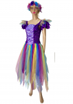 Women's Adult Fairy Dress Costume Purple Fantasy Rainbow