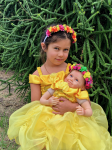 Girls Princess Belle Inspired Dress Set, Girls Belle Costume