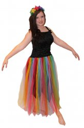 New Adult Fairy Dress Costume Black Rainbow