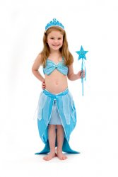 Girls Mermaid Costume Dress Sparkle Turquoise