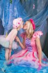 New Adult Women's Fairy Dress Costume Pink Fantasy Rainbow