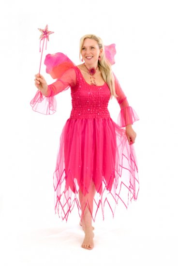 New Adult Fairy Dress Costume Purple/Hot Pink - Click Image to Close