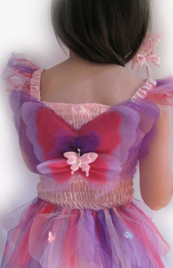 New Girls Kids Fairy Dress Costume Garden Fairy Dress Pink - Click Image to Close